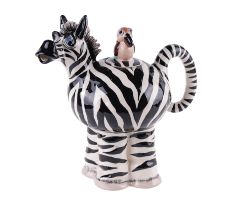 Ceramic Zebra teapot with bird on back. Comes boxed. Great present for collectors of teapots or Zebra lovers