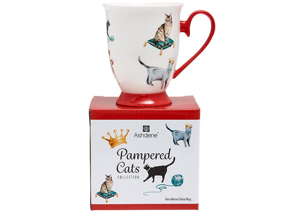 Pampered Cat Feb Footed Mug - New Bone China Mug 320ml