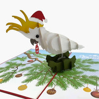 Cockatoo Xmas - Beautifully created Pop Up cards created to to make any gift memorable. Each card is designed and meticulously handcrafted into 3d pop up cards for all occasions.