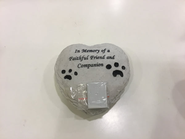 Heart memorial stone with plate to engrave - saying - I memory of a faithful friend and Companion.