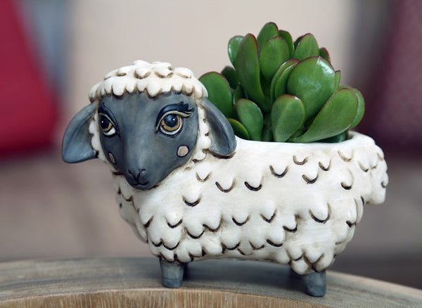 Baby Sheep Planter by Rikaro - W 16cm x H 10.5cm.  Great additions to any house or garden.