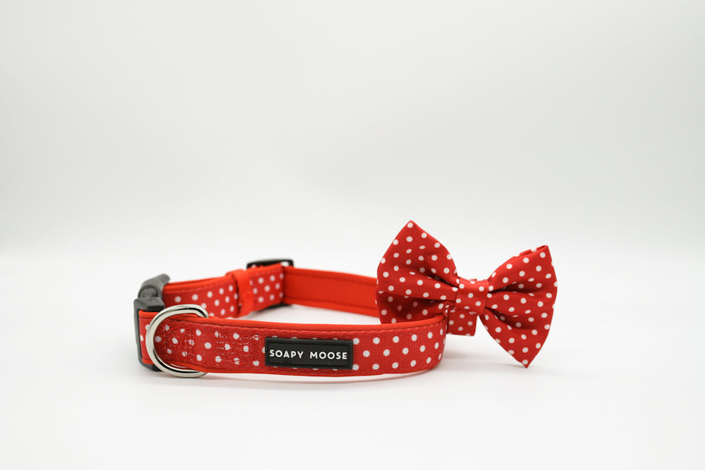 Red & White Polka Dot Collars & Bow Tie by Soapy Moose