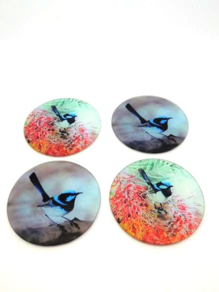 Fantastic Blue wren glass coasters with cushioned feet. Set of 6. Three of each design. Great for the Bird lovers or pet lover.