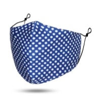 Maskit Reusable Blue & White Polka Dot Cotton Mask with 3 PM2.5 filters included in pack