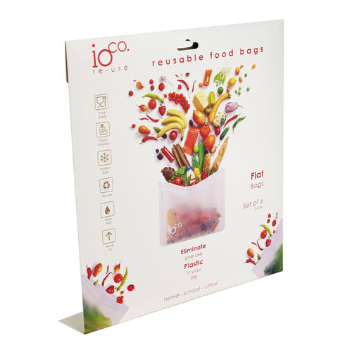 Pack of Reusable Food Bags - with Zip lock - pack of 6 flat bags.