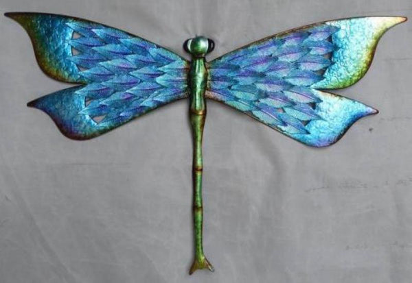 Beautiful big Dragonfly wall art. Fantastic to add colour to any wall or outside area.  Dimension: 71.1cm x 2.5 cm x 45 cm .