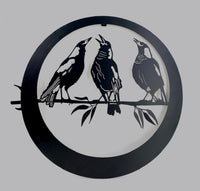 Beautiful Trio of Magpies wall art. 50 cm diameter. A great piece for any magpie lover!