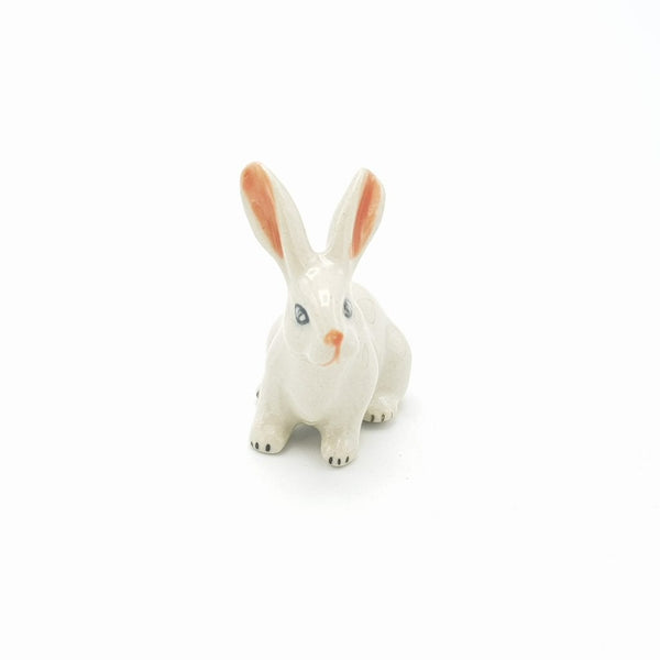 Ceramic rabbit - sitting in white. Great gift for the rabbit collector