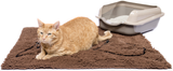 Brown Cat Litter Mat with Kitty litter in corner of mat and Ginger cat sitting on mat