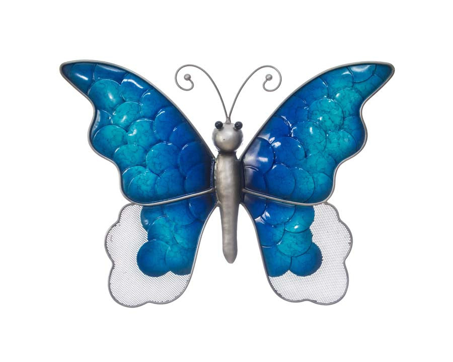 Metal butterfly wall hanging with blue wings 36cm x 27cm