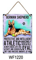 German Shepherd Metal Dog breed signs.  Lovely bright colours signs with each breeds personality traits listed below. Size is 20cm x 27cm each sign.
