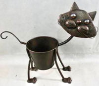 Beautiful rustic Cat pot plant holder.  Dimensions: 43 x 39 x 14cm