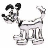 Enlarged look of the dog brooch - silver Dog with black ears , nose and Collar.
