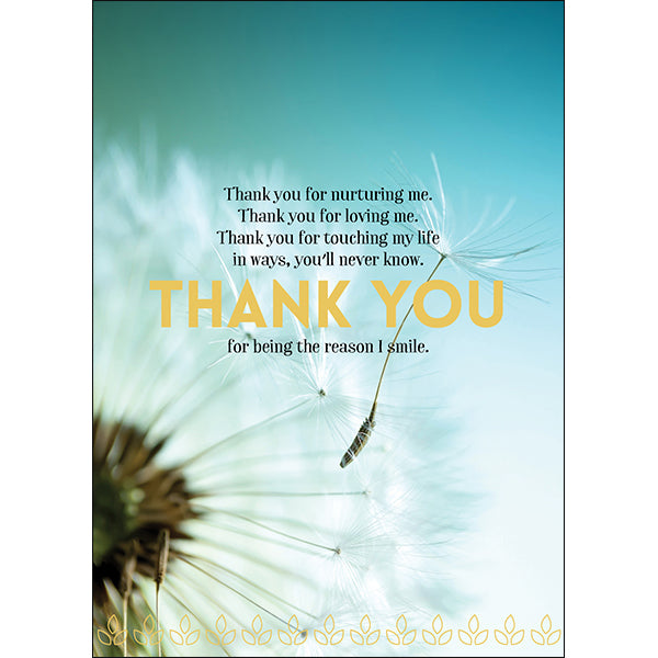 Beautiful affirmations card - with saying on front:  Thank you for nurturing me. thank your for loving me. Thank you for touching my life. in ways you'll never know THANK YOU  for being the reason I smile.  Inside Blank.