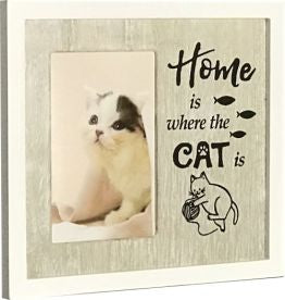 Beautiful playful photo frame - white surrounds with white washed wood centre. Takes photo 10cm x 15cm. Saying HOME is where the CAT is.