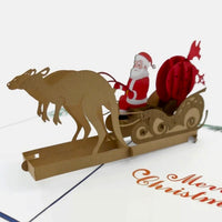 Kangaroo Pulling a Sleigh - Beautifully created Pop Up cards created to to make any gift memorable. Each card is designed and meticulously handcrafted into 3d pop up cards for all occasions.
