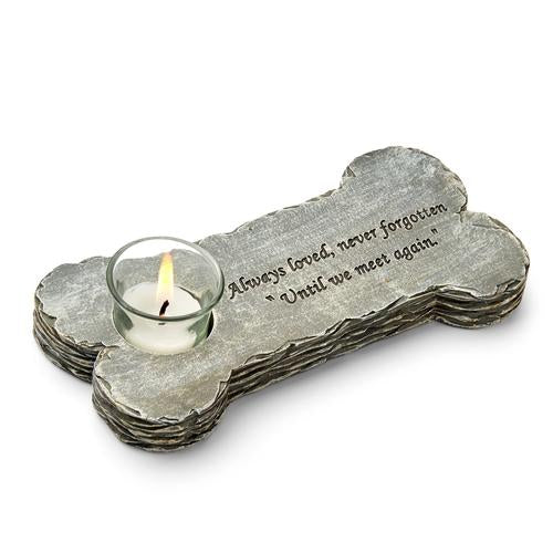 "Dog Memorial Candle - Saying: Always loved, never forgotten ""until we meet again"""