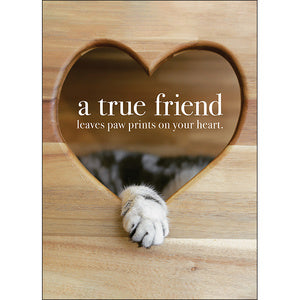 Affirmation Card - Beautiful presented card.  A true friend leaves paw prints on you're heart!  Inside Verse - Love you!