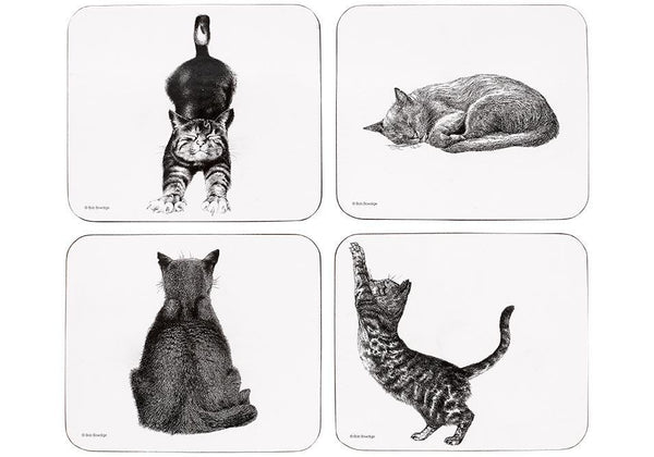 Casual Cat - monochrome cat coasters. Fantastic gift for every cat lover.