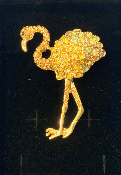 Beautiful Flamingo brooch in beautiful gold colours
