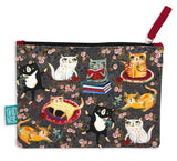 Crazy cats - Beautiful designed with fun artistry, these cotton pouches are fantastic addition. They can be used for a cosmetic pouch, cables & charger pouch, pen and pencil case or just for notes and coins. 20cm x 15cm.