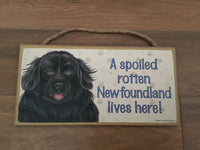 Sign and image - A spoiled rotten Newfoundland lives here! ( Black in colour)