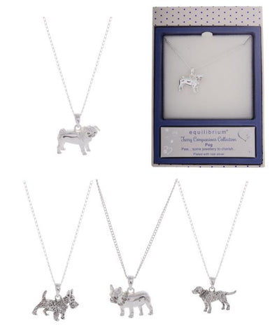 Equilibrium Silver plated dog necklaces, four different breeds available, pug, Labrador, French bulldog, or Westie