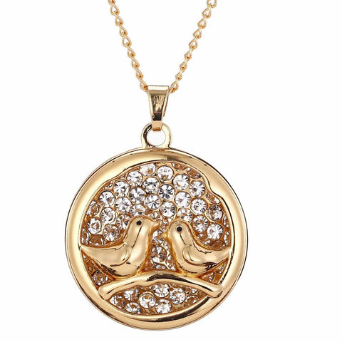 Gold Twin Bird Diamante Necklace