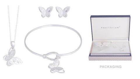 Butterfly 3 piece jewellery set - necklace ,earrings and bracelet in silver plate.