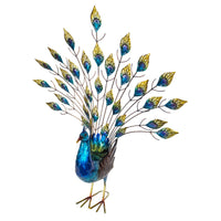 Beautiful Metal Peacock in show stand. Measures 65 x 24 x 77cm- Metal Decoration, tail detaches for easy and safe transport. Great quality, painted front & back, lacquered