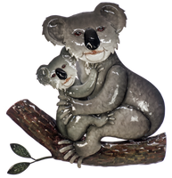 Beautiful wall hanging of metal Koala & Baby - 37 x 35cm- Metal Wall hanging with hanger point
