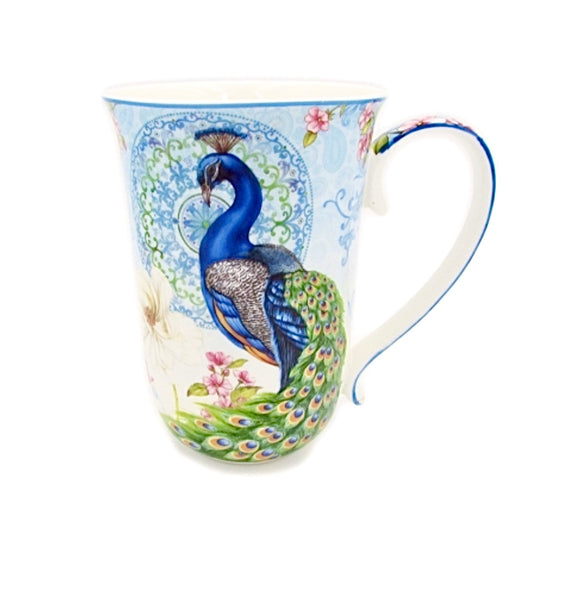 Beautiful porcelain Peacock Mug 405ml. Great gift for the Peacock lover and bird lover.
