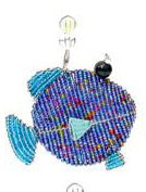 Beadworx fish snippet - in Purple and blue