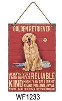 Golden Retriever Metal Dog breed signs.  Lovely bright colours signs with each breeds personality traits listed below. Size is 20cm x 27cm each sign.