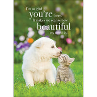 Affirmations Card - I'm so Glad you are here. It makes me realise how beautiful my world is!