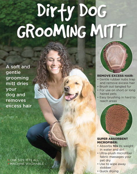 Dirty Dog Grooming Mitt Advertising, one side removes excess hair the other is super absorbent microfibres for cleaning and washing.