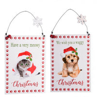 Christmas Plaques  Large - Dog (We wish you a Waggy Christmas) Cat (Have a very Meowy Christmas)