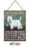 West highland terrier Metal Dog breed signs.  Lovely bright colours signs with each breeds personality traits listed below. Size is 20cm x 27cm each sign.
