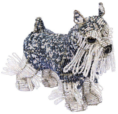Fritz Schnauzer - made from glass beads and galvanised wire - 20cm in length approximately