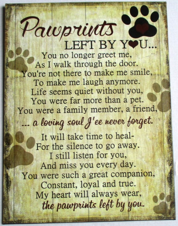 Pawprints Memorial Plaque