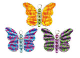 Beaded Keyring - Butterfly - Yellow, Blue and Pink, or Green and mauve