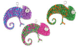 chameleon Beaded Keyrings. mauve, Green or pink.