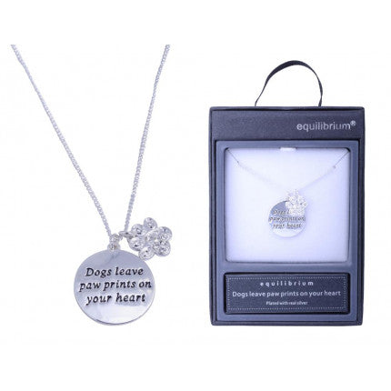 Necklace With sayings - Dogs leave paw prints on your heart.