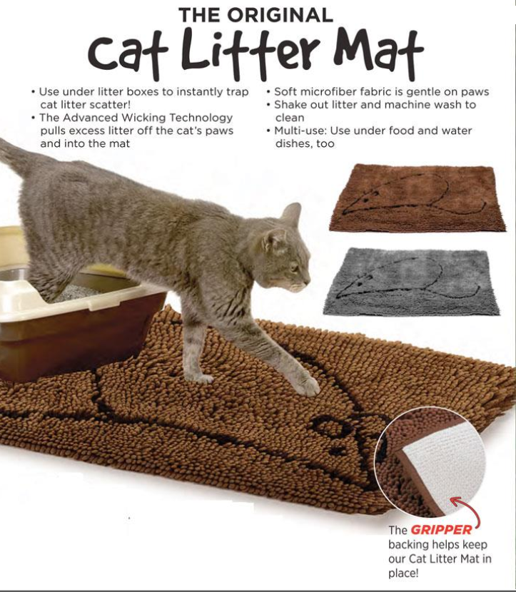 Cat Litter Mat  2 colours available grey or brown.  Long fringe to catch litter as your cat exits its litter tray.