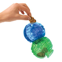 KONG Lock it Large, two spheres lock together for fun dog play, you can also add treats within the spheres. Colours of blue and green