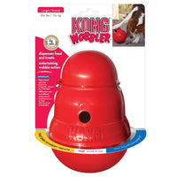 KONG Wobbler Large for action packed food - dispensing toy that provides mental stimulation