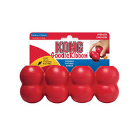 KONG Goodie Ribbon Medium in Packaging - Four stuffable Goodie Grippers(TM) for a varied mental challenge Durable KONG Classic Rubber satisfies natural chewing instincts Ideal for stuffing with peanut butter, treats or kibble Bone shaped for chewing satisfaction Freeze when stuffed to extend play time