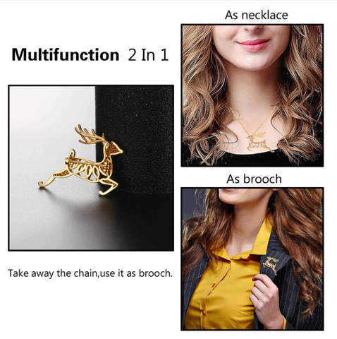 Necklace deer - remove the chain and it becomes a brooch.