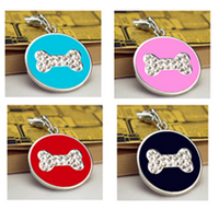 Pet Tags - 25mm Round Disc coloured with Rhinestone bone