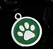 Pet Tag - 20mm Coloured Round Coloured disc with Paw print